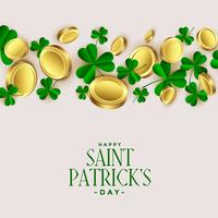 clover leaves with golden coins st. patrick's background