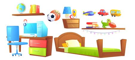 Boy bedroom interior design set object. With bed, workplace, desk and pc computer, shelves, book, kids toys. Vector cartoon illustration