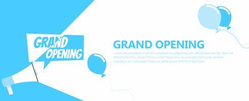 Grootse opening banner. Grammofoon met tekst, op een witte blauwe achtergrond. Platte vectorillustratie