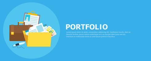 Portfolio-Banner Ordner mit Dateien, Aktentasche, Stift. Flache Vektorillustration