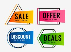stylish set of sale offers and deals labels