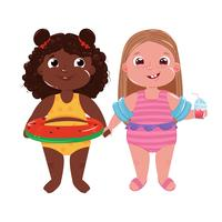 Zwei kleine Mädchen am Strand. Hallo Sommer. Freunde Spaß Spiel und Urlaub am Meer. Vektorkarikaturabbildung