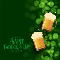 St. Patrick's day green bokeh background with beer mugs