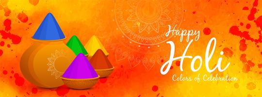 Resumen feliz Holi bandera india del festival vector