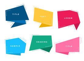 abstrakte stilvolle bunte Origami-Chat-Blasen eingestellt