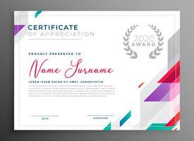 certificado moderno diseño de plantilla de premio