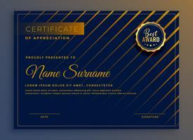 Certificado creativo de diseño de plantillas de apreciación.