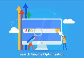 Seo banner. Work on the content of the site and its indexing of search engines. Team work on the website. Vector flat illustration