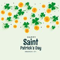 elegant st. patrick's design with coin and clover leaves