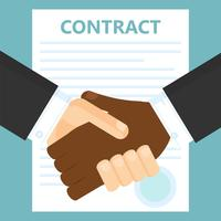 Conclusion of a contract. Two men shake hands. Vector flat illustration
