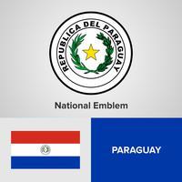 Paraguay emblema nacional, mapa y bandera