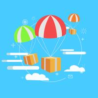 Delivery service. Package by air, gift. Vector flat illustration