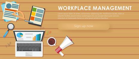 Workplace management banner. Work desk, laptop, coffee. Vector flat illustration