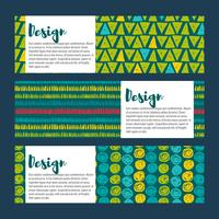 Set  backgrounds in blues and greens. Hand drawn style  vector