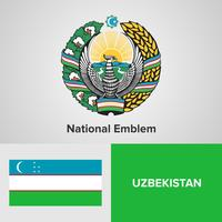 Uzbekistan National Emblem, karta och flagga