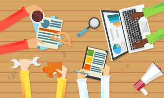 Team work banner. Top view of a table. Hands with objects, document, coffee, puzzle. Vector flat illustration