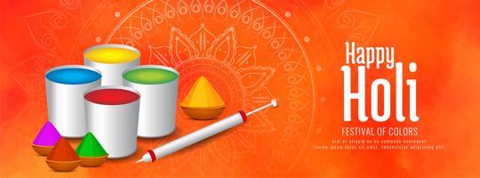 Feliz Holi hermoso diseño de banner decorativo vector