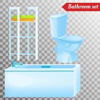 Badkamerbinnenmeubilair en verschillende apparatuur. Vectorillustraties in realistische stijl
