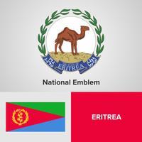 Emblema nazionale dell'Eritrea, mappa e bandiera