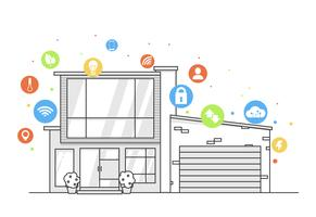 Conceito de app para casa inteligente. Linha moderna casa com ícones plana digital colorfull. Ilustração vetorial