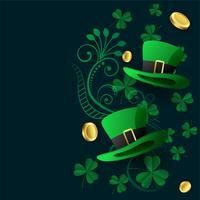 lovely St. Patrick's background with hat coin and leaves