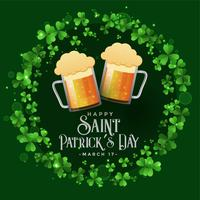 St. Patrick's celebration party with beer mugs background