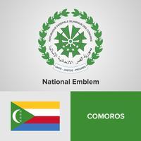 Emblema nazionale, mappa e bandiera delle Comore
