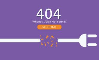 Page 404 Not Found. Wire with socket. Vector Flat Illustration