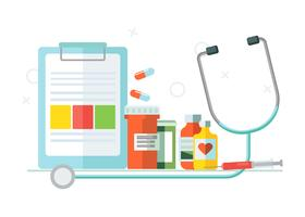 Medical set of objects. Tablets, medicines. Vector flat illustration