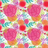 Bright pink roses  seamless pattern