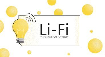 Banner de LiFi. O futuro da internet. Fidelidade à luz. Vetorial, apartamento, textura, ilustração