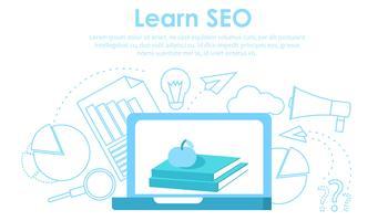 Aprenda seo banner, ilustração vetorial plana