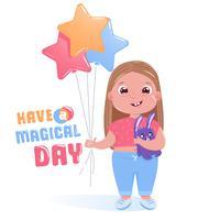 Menina bonitinha comemora feliz festa de aniversário com coelho de brinquedo e balões coloridos. Tenha um cartão do dia mágico. Vetorial, caricatura, ilustração