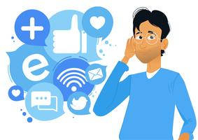 Banner Social listening. The man leaned his hand to his ear, and listens to icons. Vector flat cartoon illustration;