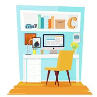 Büro Büro Interieur. Flache Illustration