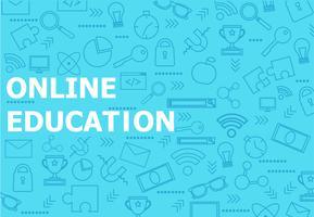 Online utbildning banner. Vektor platt illustration