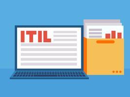IT-Infrastrukturbibliothek. Laptop mit einem Ordner mit Dokumenten und Diagrammen