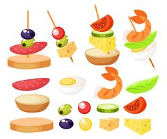 Canape Set Designer. Vector realistic illustration