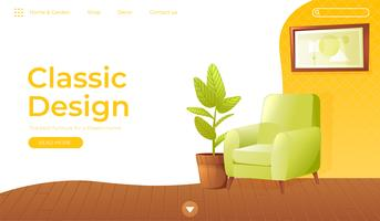 Classic living room home interior design banner. Landing Page Website conept. Comfortable armchair with a plant in a room with retro wallpaper. Vector cartoon illustration