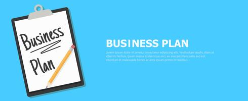 Banner del piano aziendale. Tablet con un testo e una matita. Illustrazione piatta vettoriale