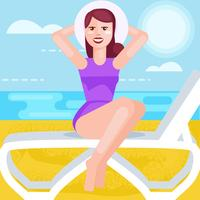 Woman in bathing suit. Vector flat illustration