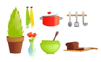 Kitchen tableware. Dishes and interior objects like saucepan, fridge with bread, plant. Vector cartoon illustration