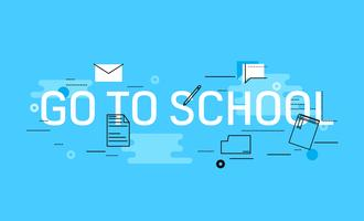 Go to school banner. Vector flat illustration