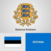 Estonia National Emblem, Map en vlag