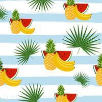 Frutas con hojas de palma en el fondo de patrones sin fisuras de rayas
