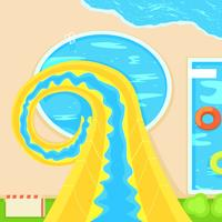 Aquapark. Descent from a steep hill. Vector Flat Illustration