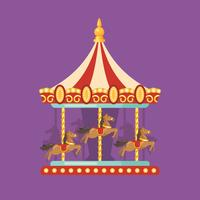Funfair carnival flat illustration. Amusement park illustration of a red and yellow carousel with horses at night