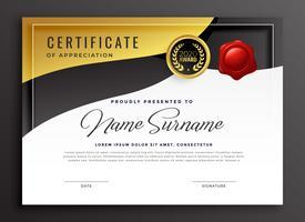gyllene certifikat för uppskattning mall