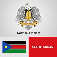 South Sudan National Emblem, karta och flagga