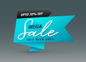 modèle de bannière créative vente méga bleu